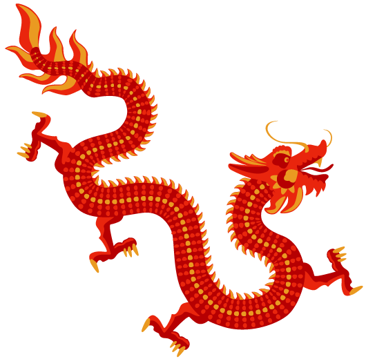 China transparent dragon. Yellow red png stickpng