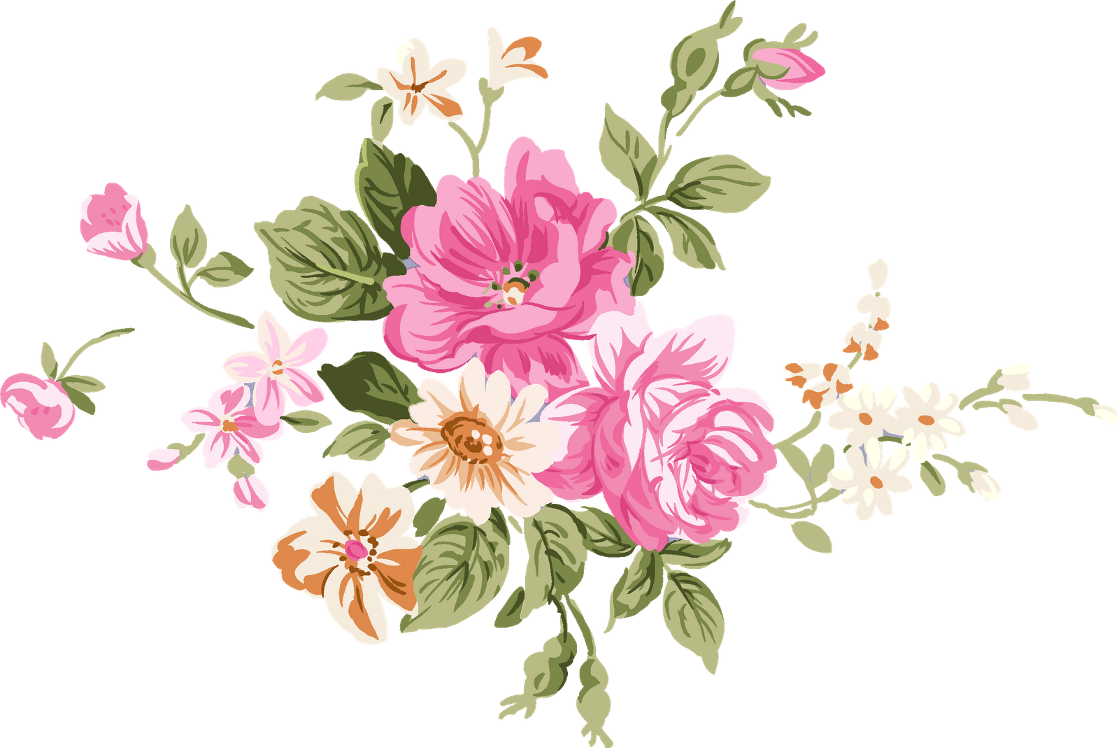 Chinese flowers png. Watercolour painting clip art