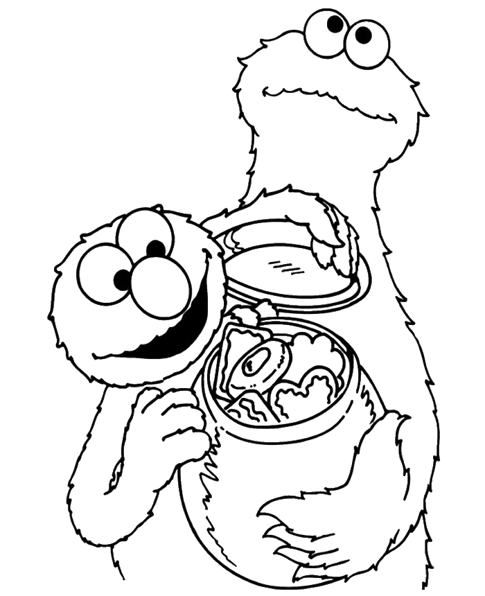 Chip drawing coloring page. Elmo share cookies with