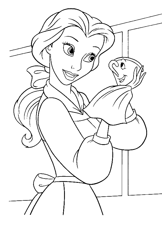 Chip drawing coloring page. Belle cleaning beauty and