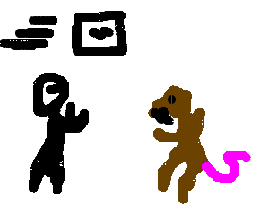 Chip drawing computer. Man fights anthropomorphic rat