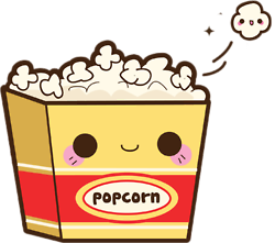 Chip drawing cute. Kawaii popcorn draw illustration