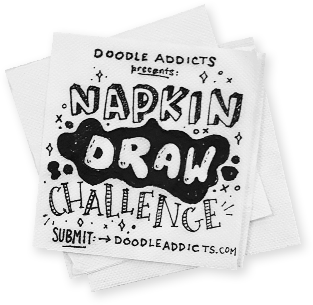 Napkin vector white. Draw challenge doodle addicts