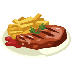 Chip drawing fried food. Steak and chips cooking