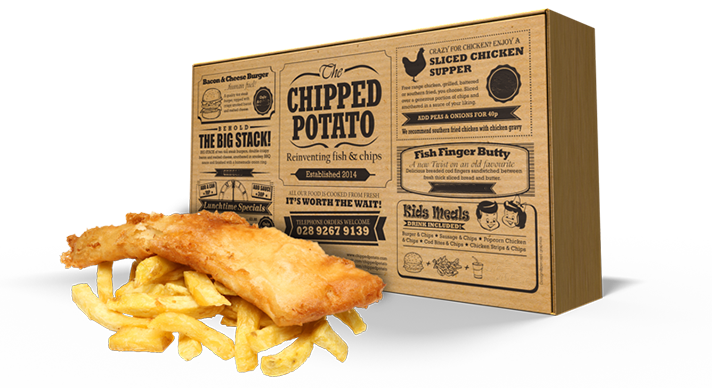 Chip drawing fried food. Chipped potato traditional fish