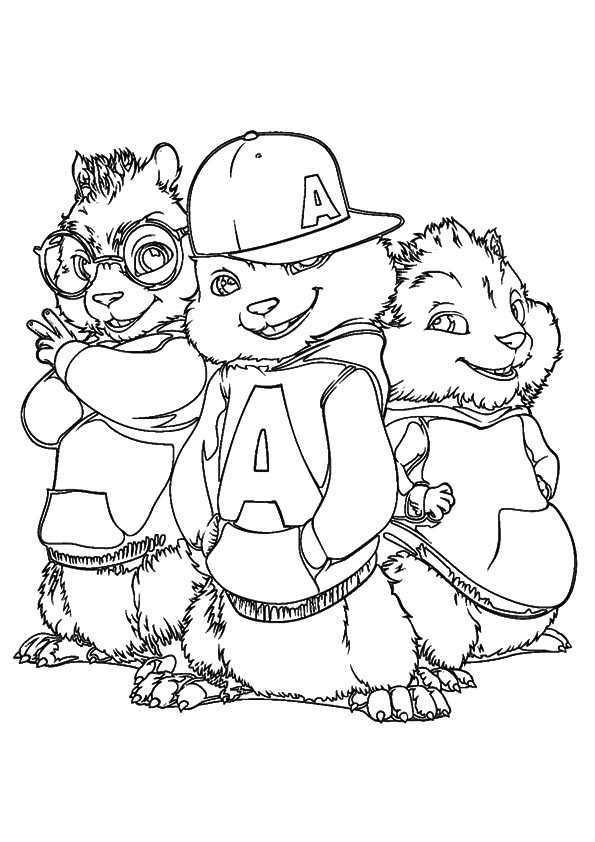 Chipmunk clipart coloring sheet. Alvin and chipmunks drawing