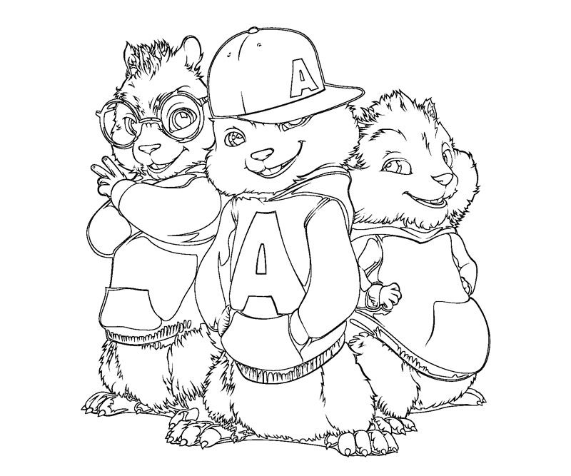 Chipmunk clipart coloring sheet. Alvin and the chipmunks