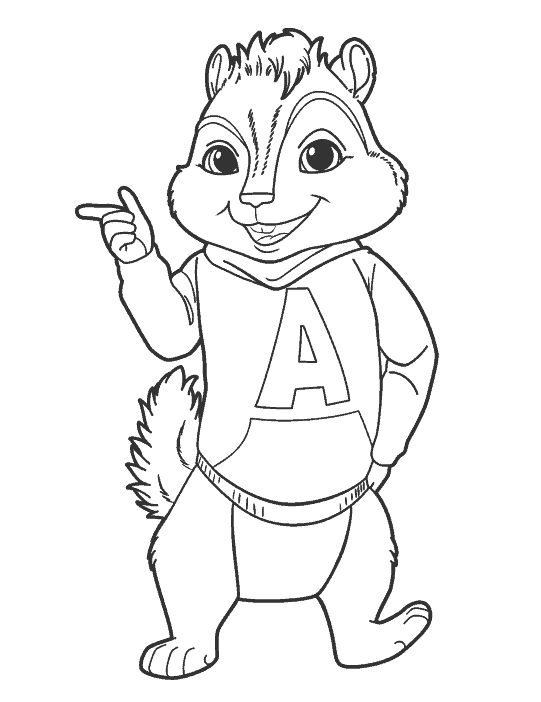 Chipmunk clipart coloring sheet. Best alvin and