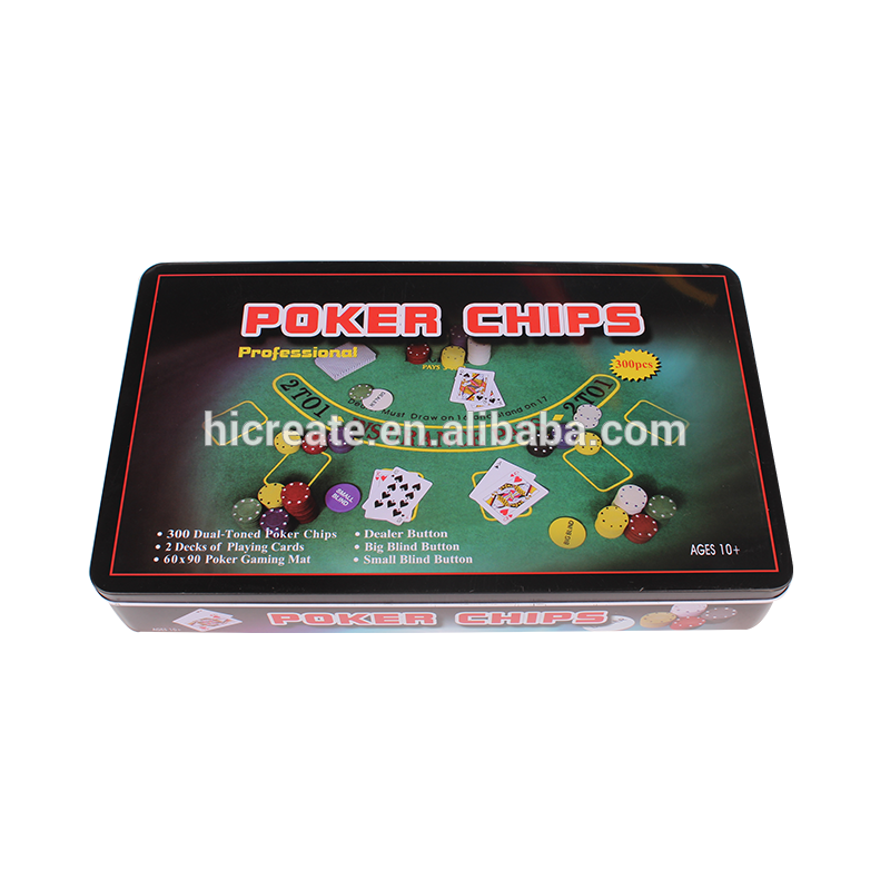 Chips transparent big. Plastic poker in tin