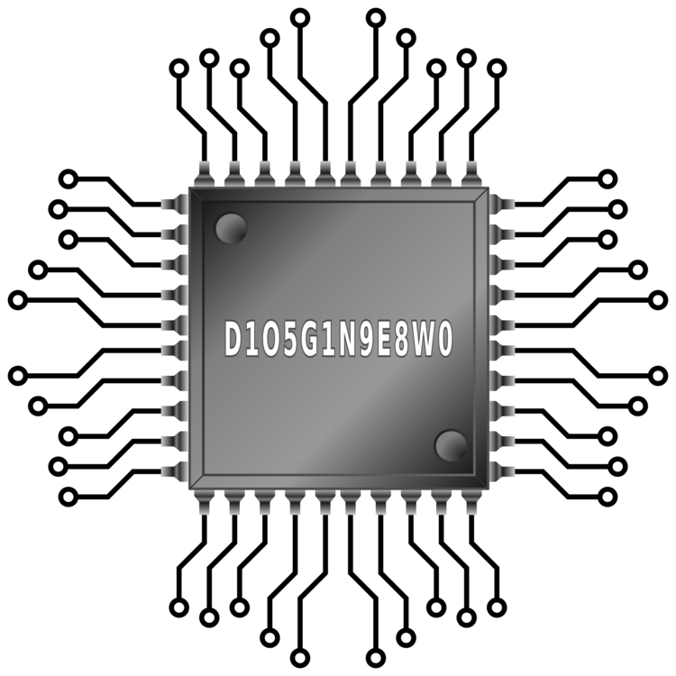 Microchip vector logo. Integrated circuits chips electronic