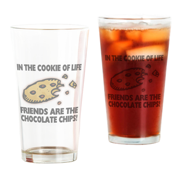 Chips transparent glass. Chocolate chip friends drinking