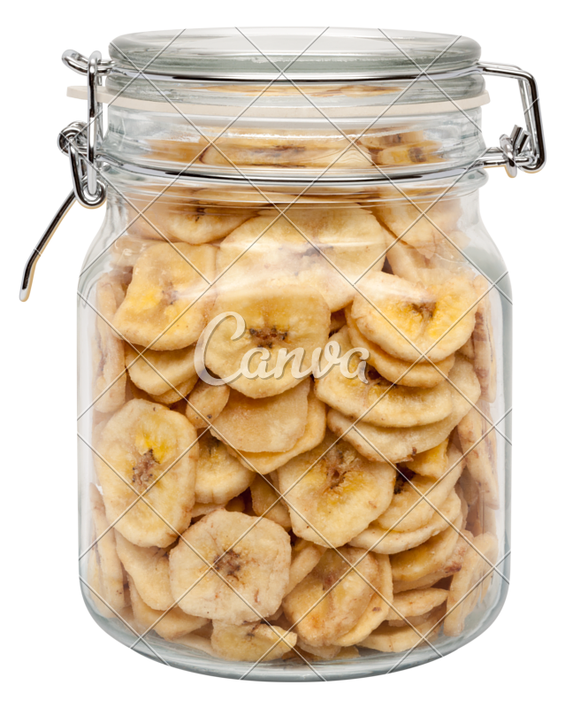Chips transparent glass. Dried banana in a