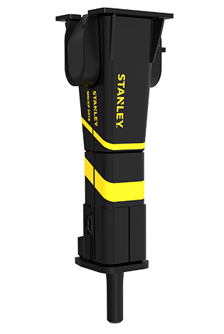 Chisel drawing hydraulic breaker. Large mounted stanley infrastructure