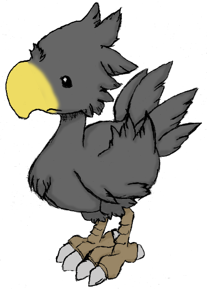 Chocobo drawing claw. Black by liayso on