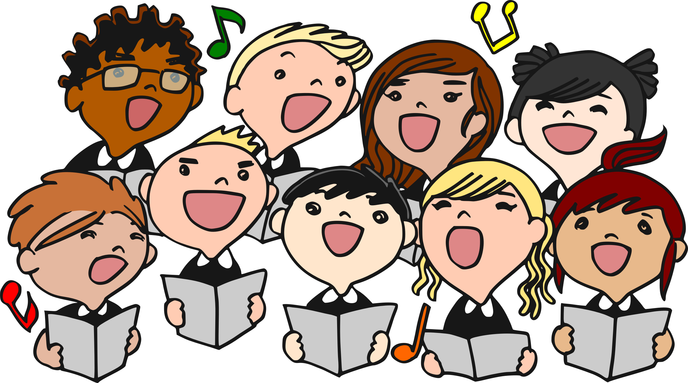 Singer vector kids. Clipart children choral big