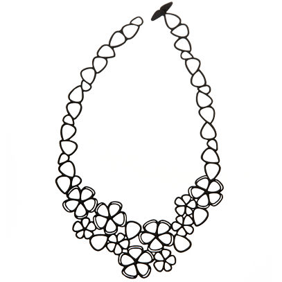 Choker drawing black and white. Collection of necklace