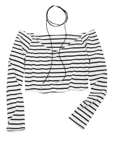 Choker drawing crop top. Cropped striped off shoulder