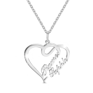 Choker drawing heart. Name necklace onlyuniqueness overlapping