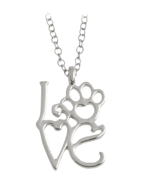 Choker drawing heart. Love paw footprint