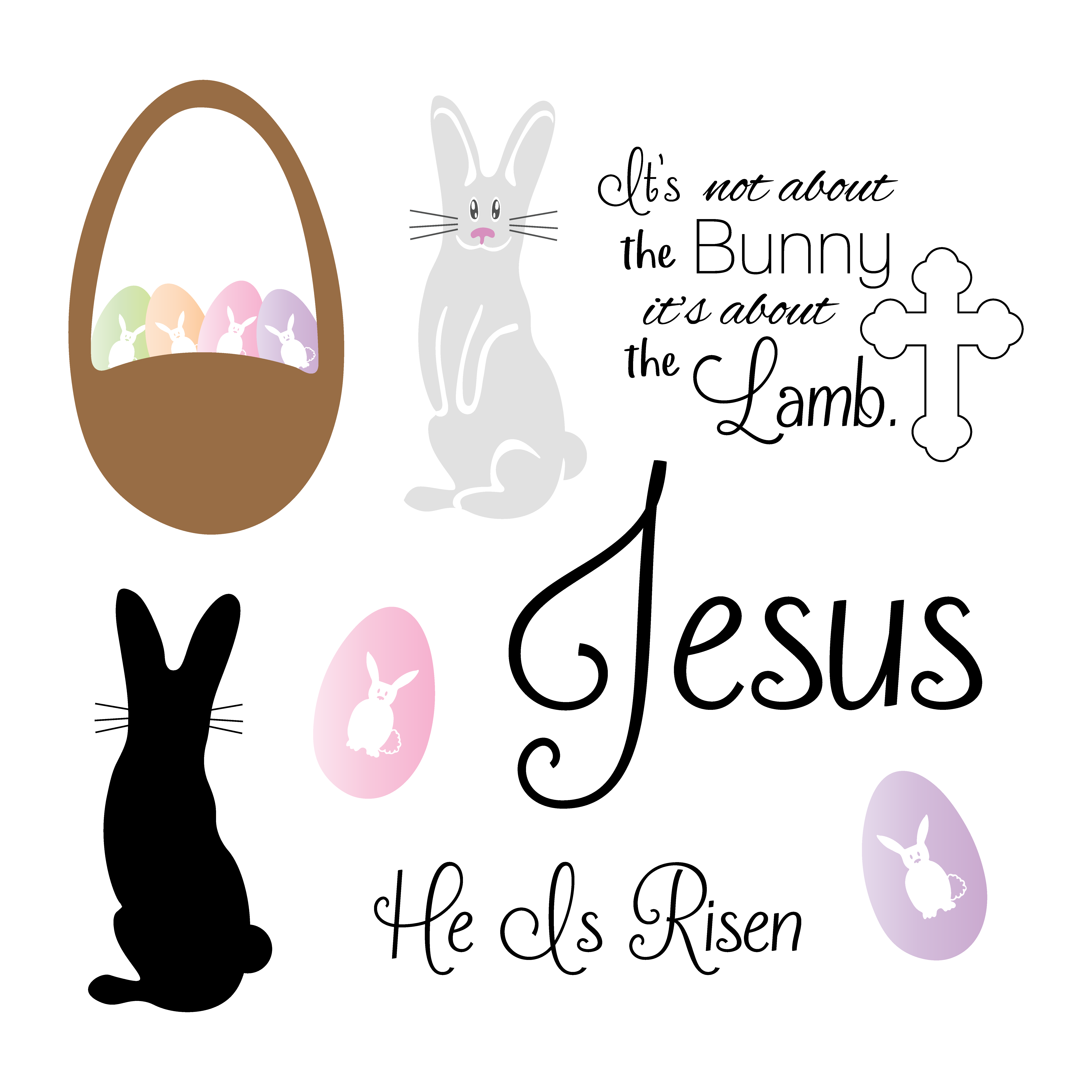 Christian svg files. Free easter cut bunny