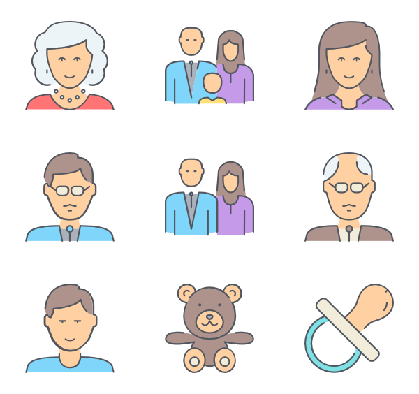 Christian vector family. Opened outlines icon color