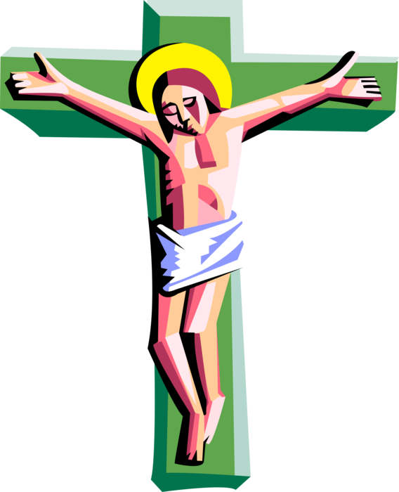 Christian vector good friday. Crucifixion with christ on