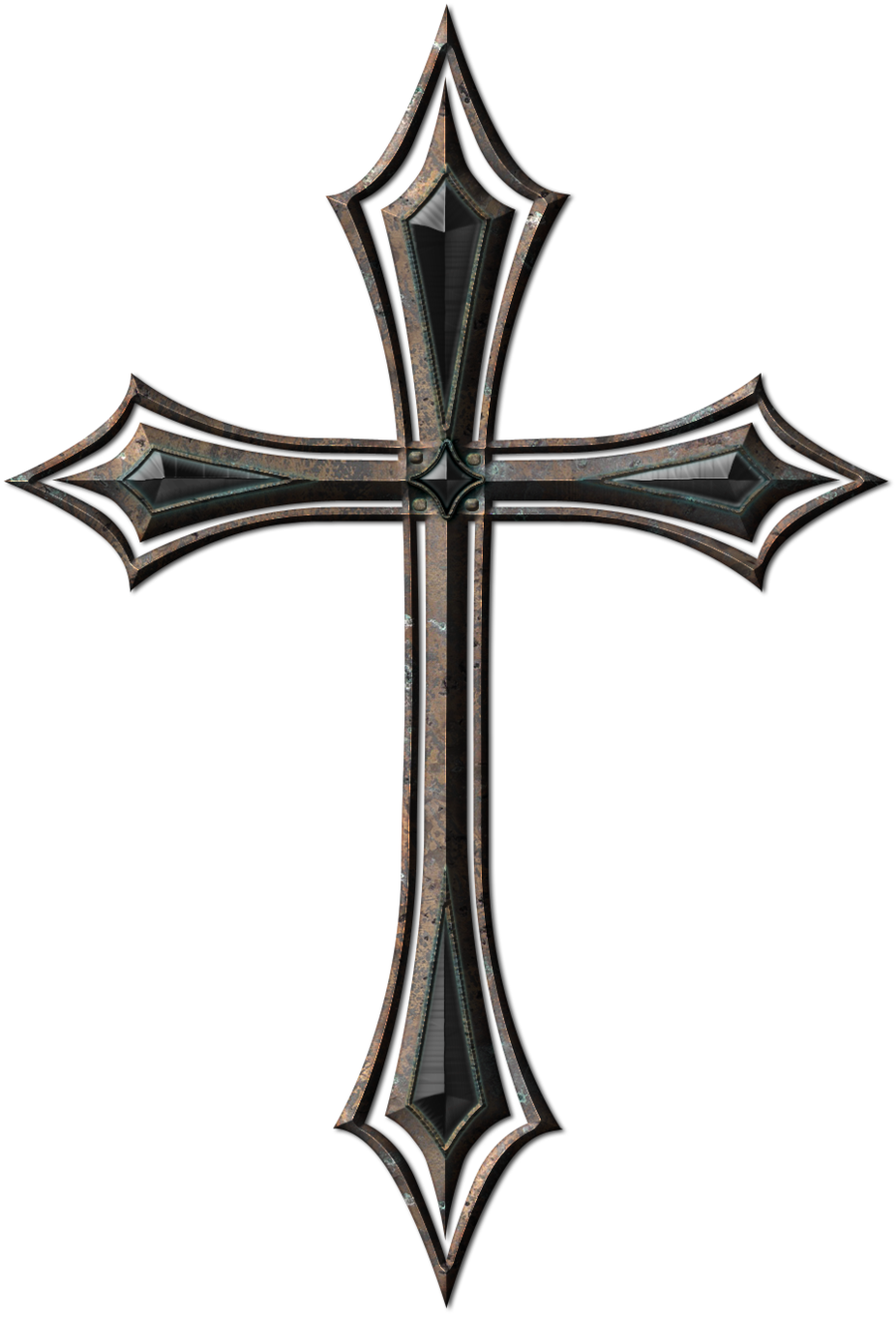 Christian vector gothic cross. Old metal by jojo