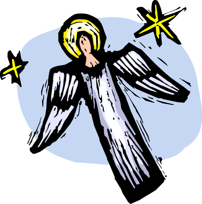 Heaven vector angels. Christian angel with wings