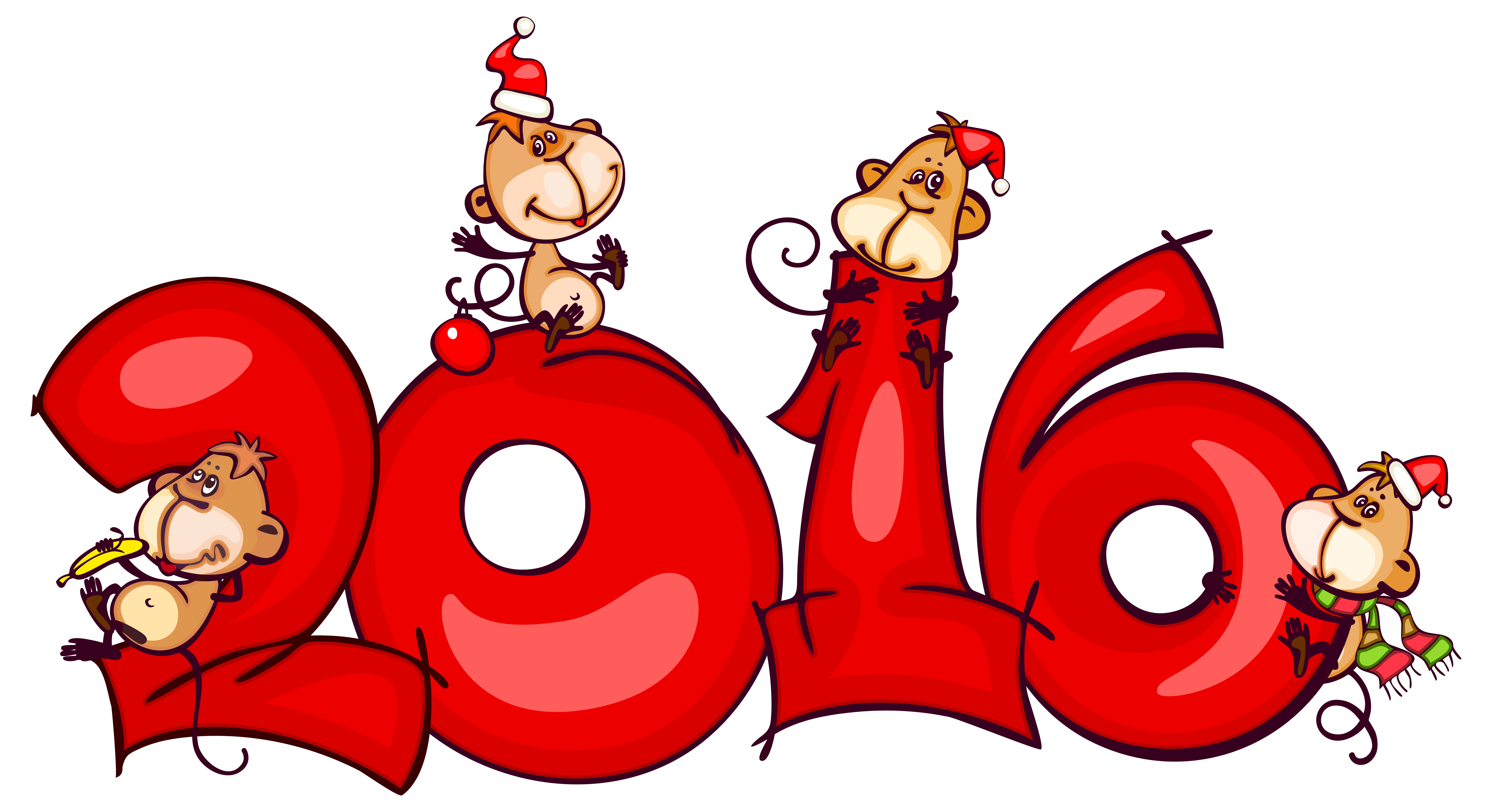 Christmas 2016 png. With monkeys clipart