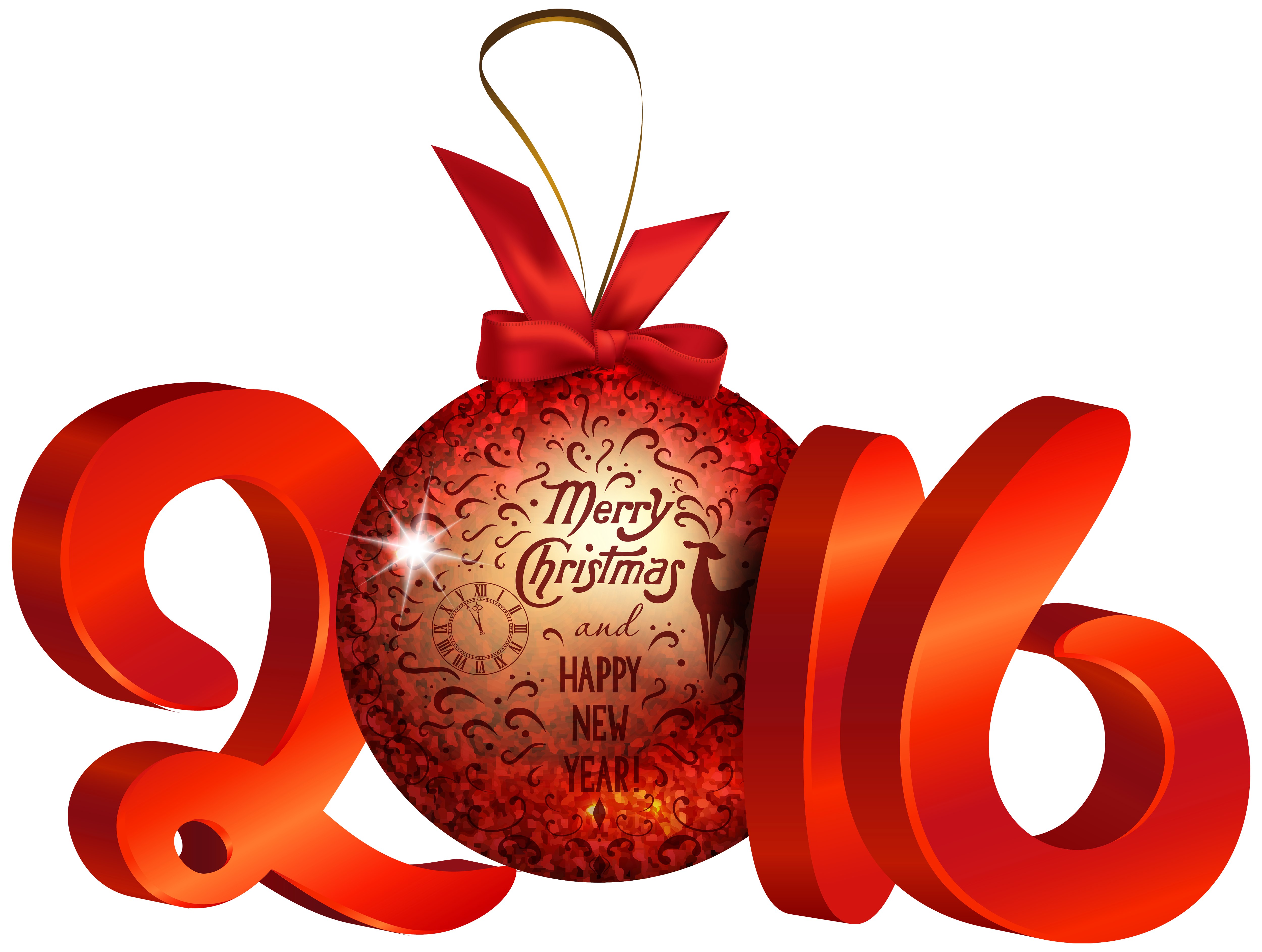 Christmas 2016 png. Red decoration clipart image