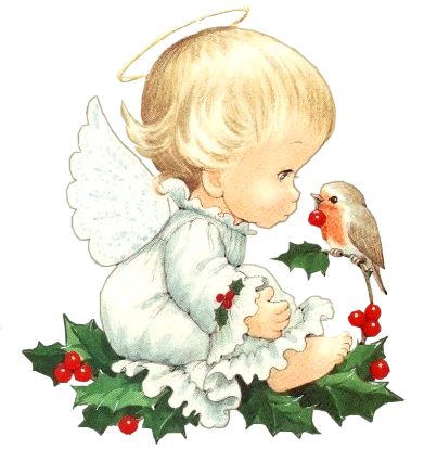 Christmas angel png. Cute baby with bird