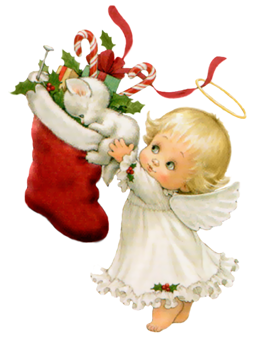Christmas angel png. Cute with white kitten