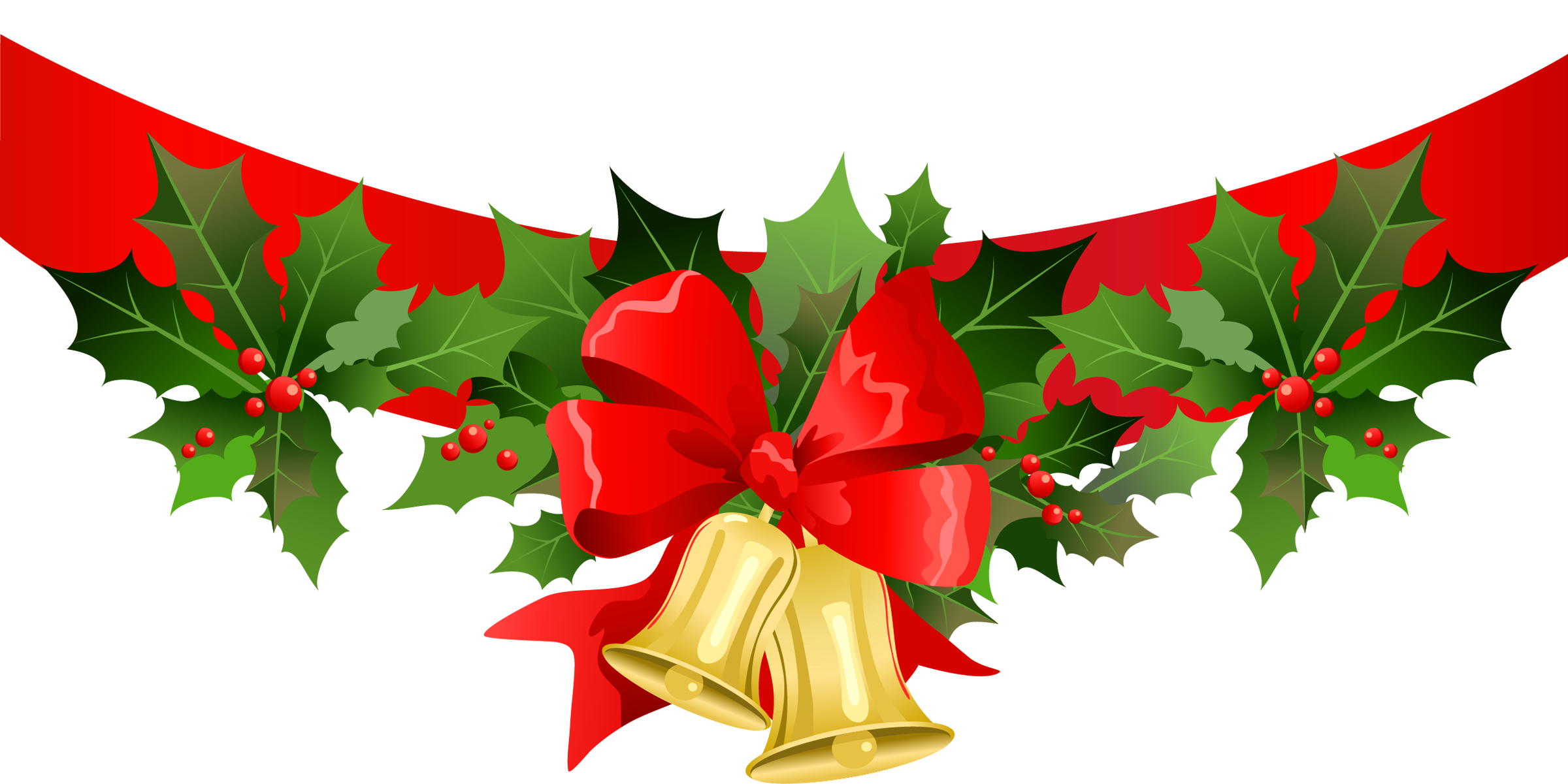 Christmas banner png. With gold bells clipart