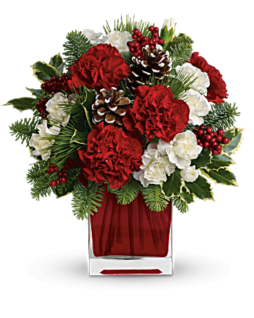 Christmas bouquet png. Holiday cube with carnationsand