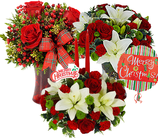 Christmas bouquet png. Same day flower delivery