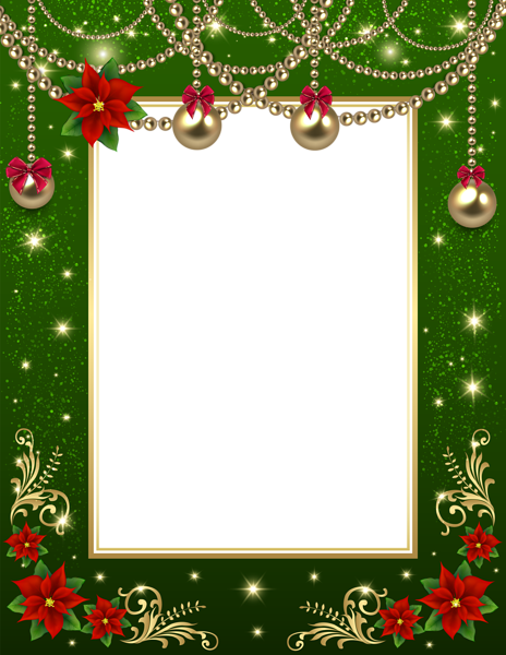 Christmas card border png. Transparent photo frame green