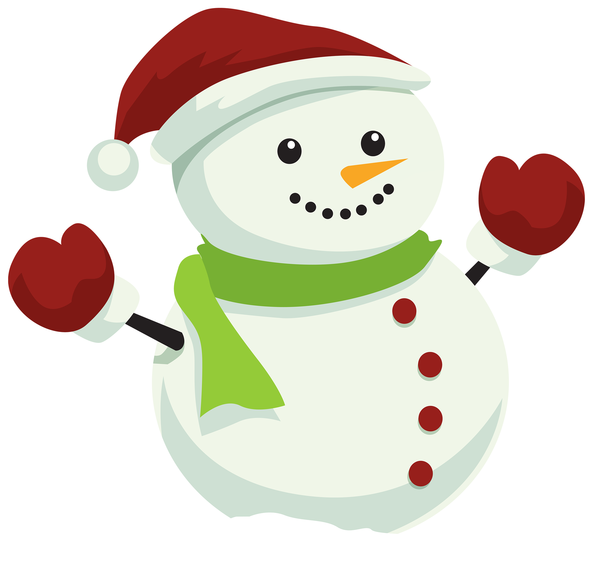 Christmas cartoon png. Snowman with hat clipart