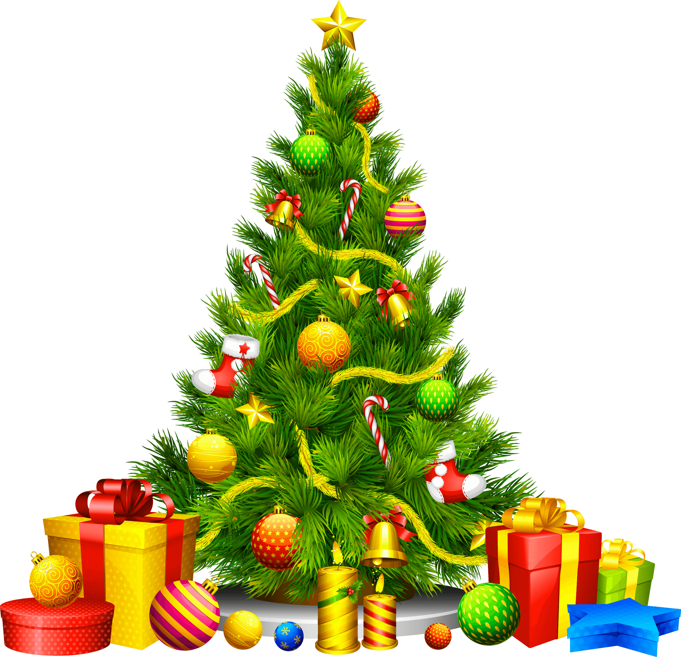 Christmas cartoon png. Gifts fir tree image