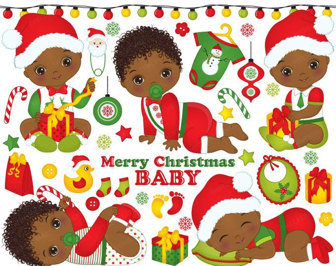 Christmas clipart african american. Baby boys vector newborn
