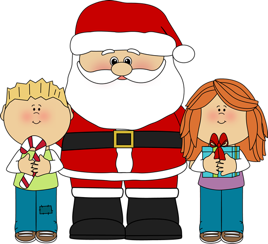 Christmas clipart kids. Child s santa and