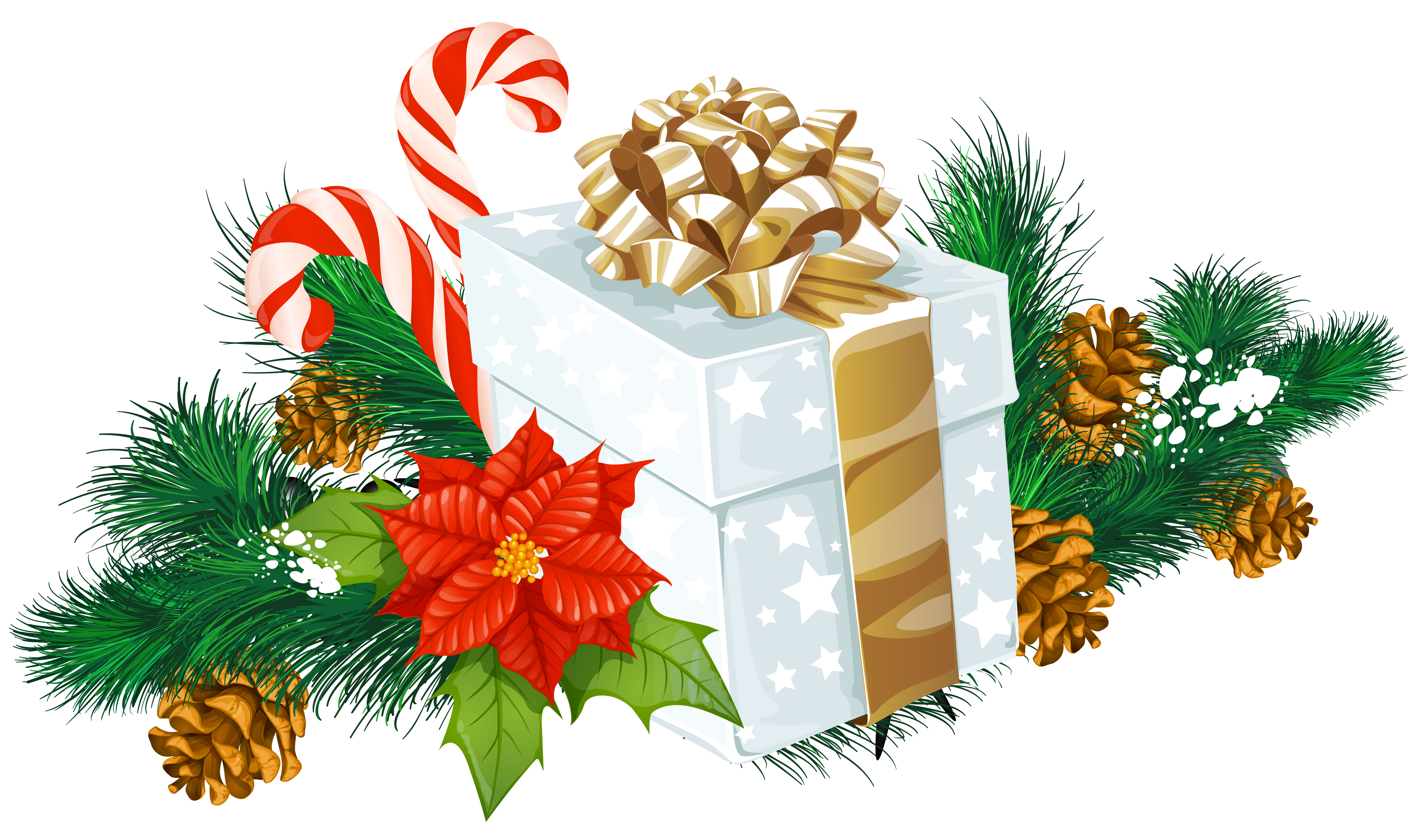 Christmas clipart png. Transparent white gift decor