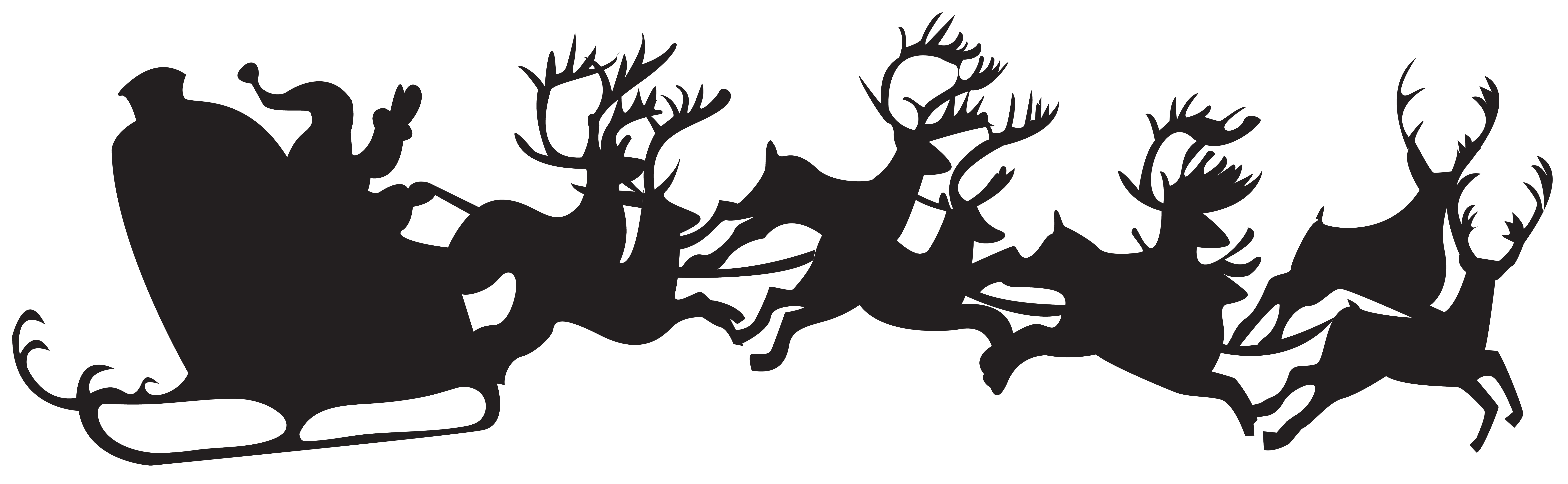 Christmas clipart silhouette. Santa claus with sleigh