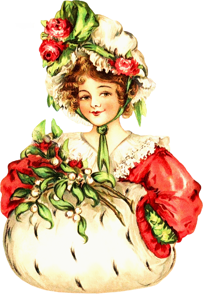 Christmas clipart victorian. Lady