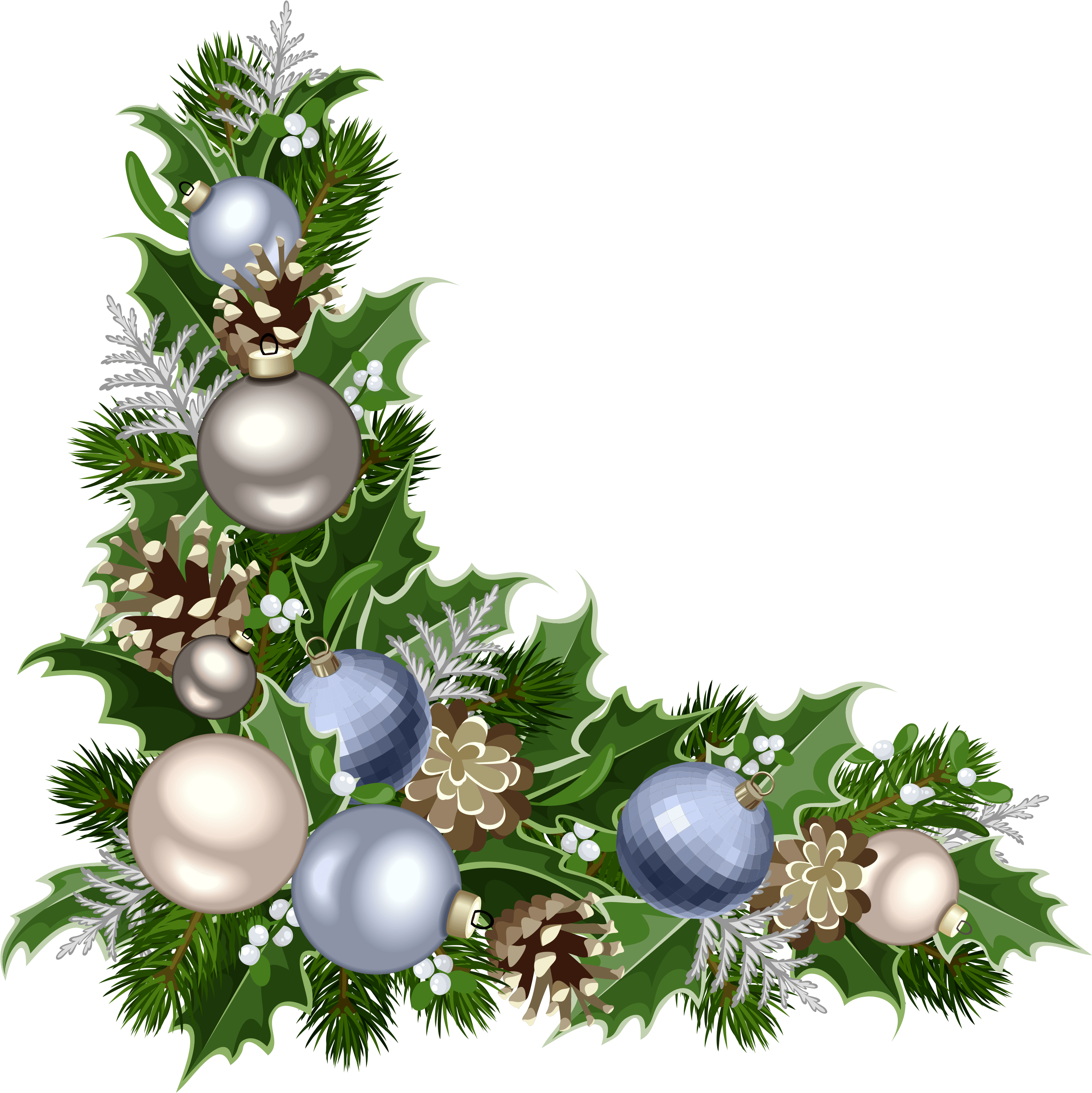 Christmas png corner. Download deco with decorations