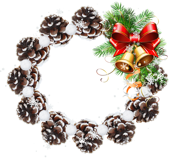 Christmas decorated pine cones png. K round cone transparent