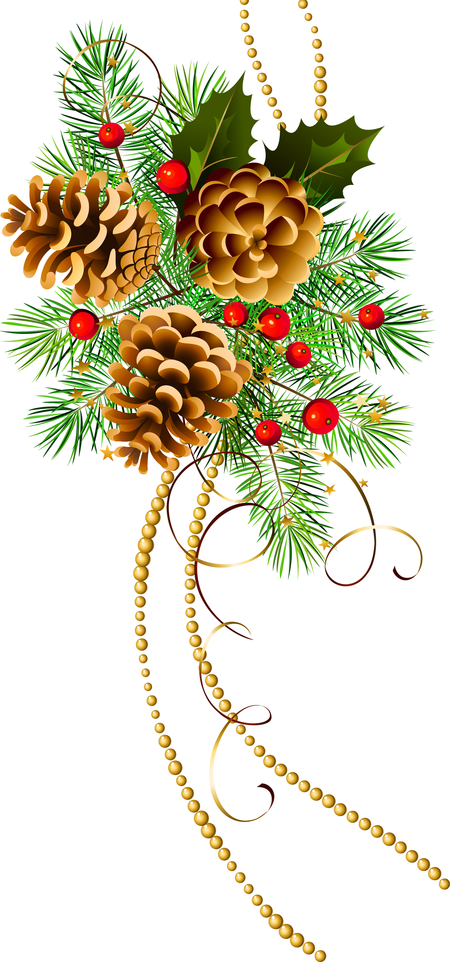 Christmas decorated pine cones png. Three with branch clipart