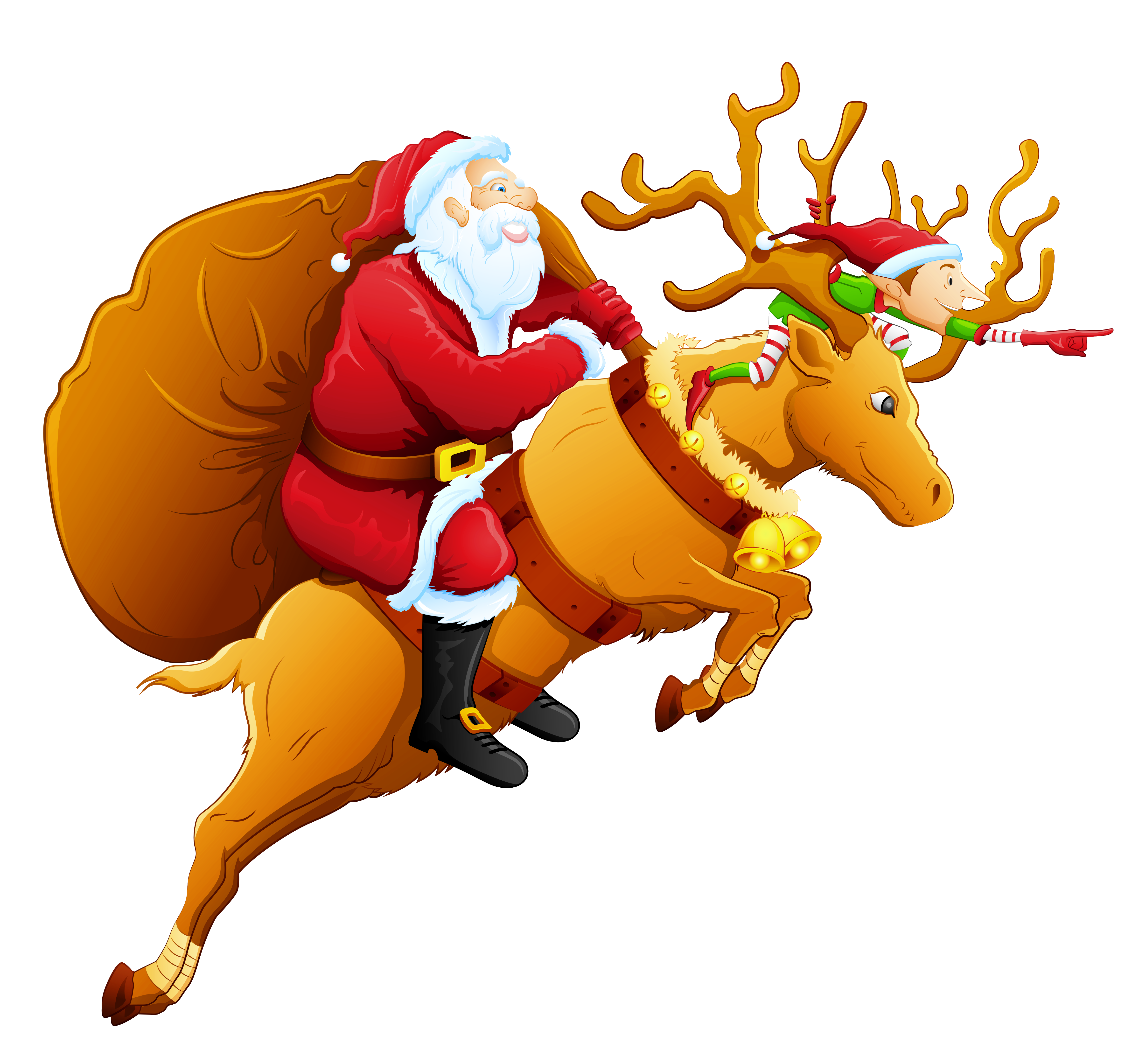 Christmas deer png. Santa and reindeer clipart