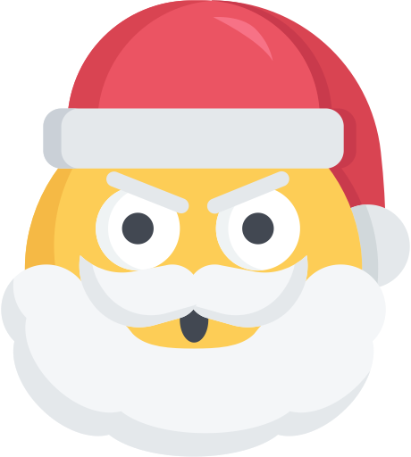 Vector santa angry. Christmas emoji mad icon