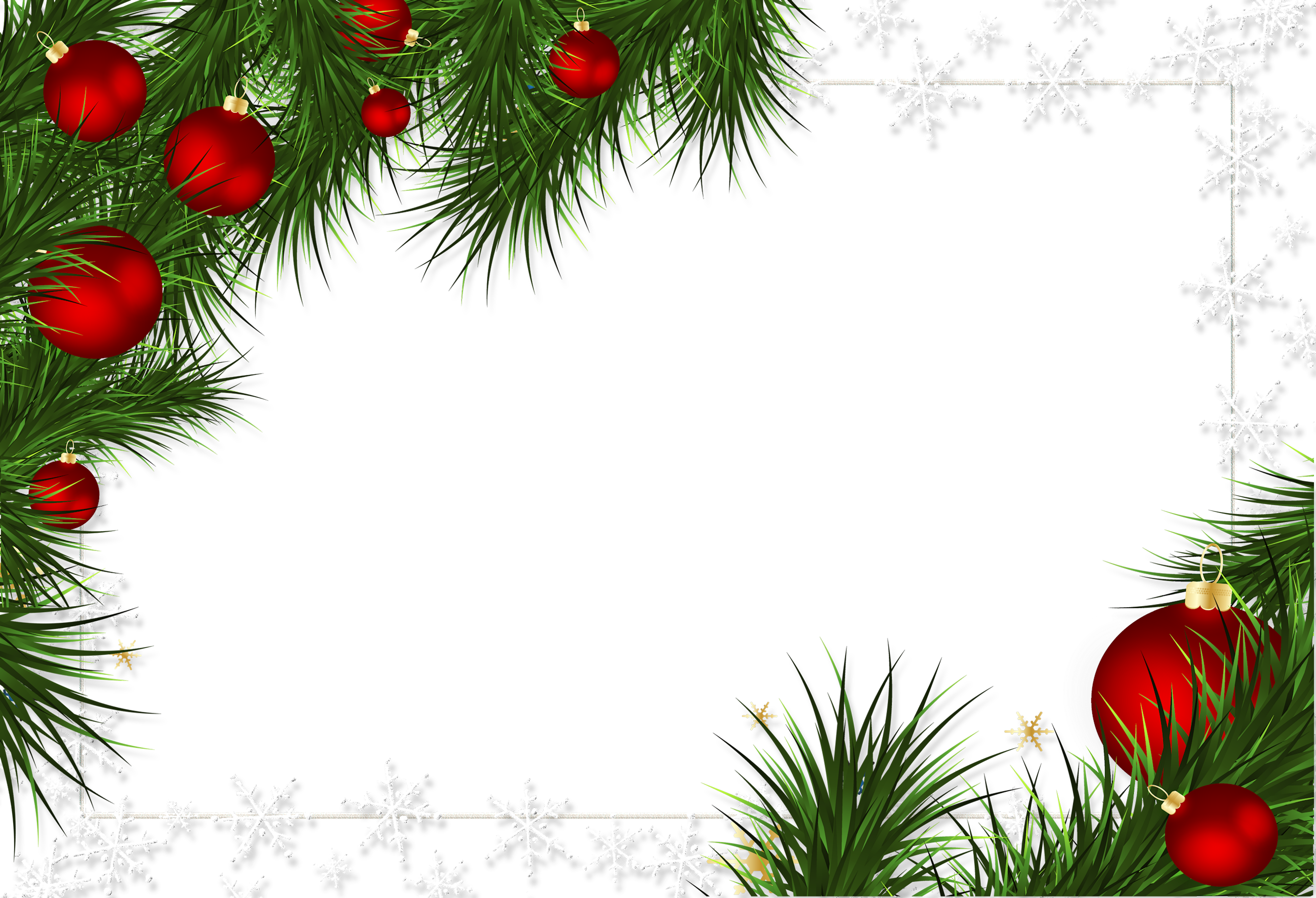 Christmas frames and borders png. Transparent frame ornaments pine