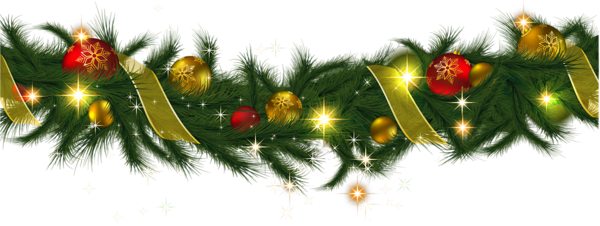 Christmas garland border png. Ornaments clipart transparent background
